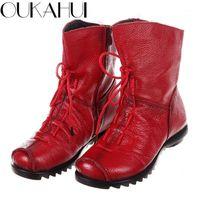 Oukahui Китайский стиль натуральные кожаные ботильоны для женщин весенний плоский низкий каблук винтажные мягкие комфортные женские сапоги обувь Winter1
