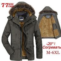 Erkek Kış Ceket Kalın Casual Dış Giyim Ceketler Erkek Kürk Yaka Windproof Parkas Artı boyutu 6XL Yeni Kadife Sıcak Coat