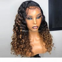 1B brasileña 27 del frente del cordón peluca Ombre 13X6 profunda del pelo humano de la Virgen rizado peluca Negro Para mujeres con el bebé 9A pelo