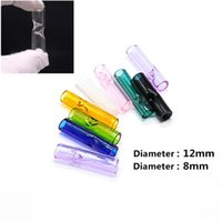 8mm 12mm mini tubos de vidro filtro de tubos plana boca redonda para papéis de rolamento crus suporte de cigarro de tabaco pyrex tubo de vidro filtro fumar pontas