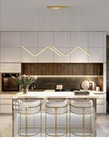 Ouro ou preto led simples líder moderno ilha de cozinha longo pendurado luz de jantar escritório café restaurante lâmpada pingente