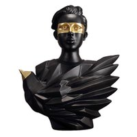 European Black Gold Aerial Bird Figure Statue Resin Crafts Abstract Art Character Sculpture Home Decoration Accessories Gift T200619