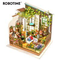 Robotime DIY boneca Casa Miller's Garden Presente Infantil Adulto Miniatura Dollhouse Modelo Kits Kits LJ201126
