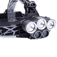 5LED 5000LM 3 modalità di illuminazione LED bianco in lega di alluminio del faro nero Testa della lampada della torcia di campeggio dello zoom capo luce della torcia elettrica