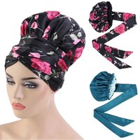 Streamers ve nefes alabilen ile Yeni Baskılı Saten Şapka, Çift katmanlı Yumuşak Şapka, Katı Renk Nightcap, Kravat ve Saç Aksesuarları
