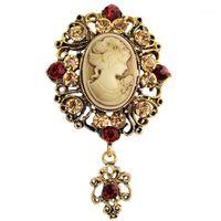 Por atacado- moda antique ouro prata broche vintage pinos feminino jóias rainha cameo broches strass para mulheres vestir acessórios1
