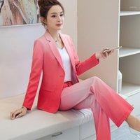 Frauenanzüge Blazer Büro Dame Arbeit Blazer Set Frauen Womens 2 Stück plus Größe Hosen Elegante Frau Overalls Hose Formal1
