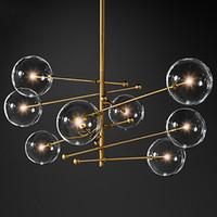 2020 balle verre design moderne lustre 6 têtes lampe à bulles verre clair lustre pour salon cuisine noir / or luminaire