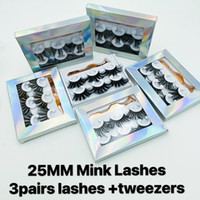 25mm Mink Eyelashes Dramatic Long Wispies Fluffy Eyelash 5D ...