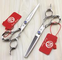 # 518 6.0 '' Mejor Marca de corte de tijeras de peluquería del diseño del dragón Diamante 440C tijeras de peluquero adelgazamiento tijeras de pelo