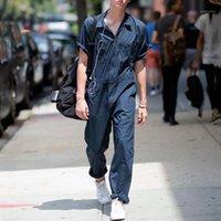 Мужские трексуиты мужские трексуиты повседневные мужские комбинезоны сплошные свободные сафари стиль костюм с короткими рукавами длинные брюки мужские карманы на молнии
