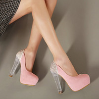 Fashion Women Shoes Bright Glittering Glorious Baby Pink Gold Sequin High Heels Mary Jane Strappy Shoes