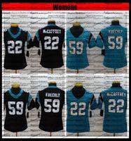 Mulheres 59 Luke Kuechly 22 Christian McCaffrey Jerseys Football Stitched Senhoras Camisetas S-XXL Bordado Preto AC1