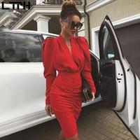 Hot sale2020 İlkbahar Sonbahar elbise kadınlar yeni Casual Tam Seksi derin V yaka Katı Düz Diz Boyu çanta kalça elbiseler katlanır kollu