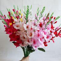 10pc de soie artificielle glaïeul fleurs fleurs de touche réelle orchidée fausse fleur pour la fête de mariage festival festival décoration table arrangement