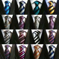 Venta caliente 8cm Hombres lazos de seda hombre de la moda corbata hecha a mano lazo de la boda de negocios ata Inglaterra Paisley Lazo de las rayas de las telas escocesas de los puntos corbata