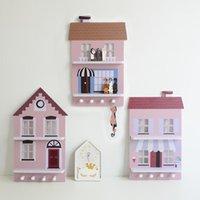 الشمال الملونة المنزل شكل جدار خشبي ديكور الرف رفوف الإبداعية الرجعية kawaii غرفة المعيشة الأطفال حاملي غرفة الطفل
