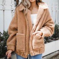 2020 Invierno Nuevo Llegada Mujer Fleece Parka Chaqueta Abrigo Tops Tops Outdoor Outwear grueso Teddy Oso de peluche Pocket Cardigan Coat1