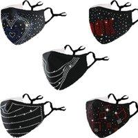 Moda Día de San Valentín Diamond Sequins Bling Mask Divertido hombres y mujeres colgando oreja a prueba de viento ajustable frío polvo a prueba de polvo mascarilla