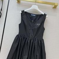 Модное платье для женщин без рукавов 21ss новая повседневная крышка рукава платье моды соответствия нейлоновый перевернутый треугольник черный MIDI платье размером S-L