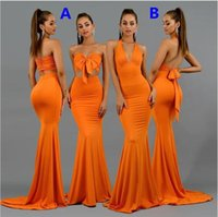 Sexy Fashion Orange Long Bridesmaid Dresses 2021 Two Pieces Mermaid Beach Holiday Boho Junior Maid of Honor Wedding Guest Gown