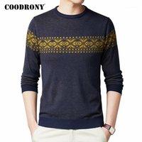 Erkek Kazakları Coodrony Kazak Erkekler Bahar Sonbahar Rahat Triko Kazak Gömlek Giysi Streetwear Moda Desen O-Boyun Çekin Homme C10771