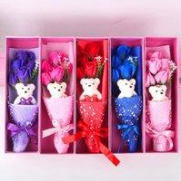 발렌타인 데이 비누 장미 선물 상자 5 개 장미 +1 곰 선물 발렌타인 데이 결혼 기념일 크리스마스 커플 선물 Eee371