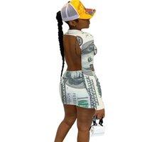 2021 Frühling Herbst Frauen Banknote Drucken Niedrige Rückseite Kleid Designer Mode Slim Casual Langarm Röcke Sexy Mini Kleider Club Kleidung H12004