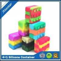 4 + 1 contenitore del silicone Cassa dei contenitori quadrati Scatola quadrata Non-stick 26ml Block Box per DAB cera Olio a secco Herb Silicon Storage Jar DHL