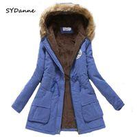 Sydanne Женщины зимнее теплое пальто женское осень с капюшоном хлопковый мех плюс размер базовый куртка верхняя одежда стройная длинные дамы Chaque Y200101