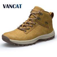 Vancat Marke Männer Stiefel Große Größe 39-46 Herbst Winter Herren Leder Mode Sneakers Lace Up Outdoor Mountain Männer Schuhe Wasserdichte 201128