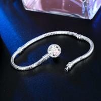 Braccialetti di fiori di serpente in argento placcato catena misura 1 pz perline di fascino per bracciale braccialetto Pandora Bracciale donna Girl Regali BR010