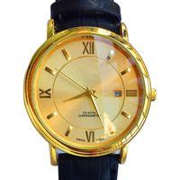 망 시계 럭셔리 디자이너 시계 가죽 스트랩 쿼츠 운동 18K 골드 도금 달력 기능 42mm 상자