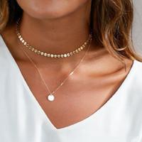 2020 de la moneda del color de Bohemia Oro Plata Gargantilla collar de la mujer de múltiples capas retro lentejuelas collar collar de la joyería del regalo del partido