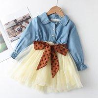 Vestidos de menina menoea primavera criança criança vestido longo luva denim meninas crianças roupas pontos padrão curva princesa crianças roupas