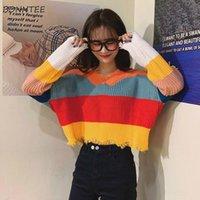 Pullover Frauen Loose Student Candy Colors V-Ausschnitt Quaste Patchwork Süßes All-Match Casual Korean Stil Pullovers Damenmode