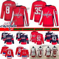 Washington Capitals Jersey 8 Alex Ovechkin 35 Henrik Lundqvist 74 John Carlson 77 TJ Oshie 92 Evgeny Kuznetsov Hokey Formaları
