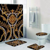 Elegante Black Gold Baroque Modello Doccia Tende Doccia Set per bagno Toilette Home Decor Luxury Bath Tenda per tappetini Lunghi Tappetini 180x200 F1224