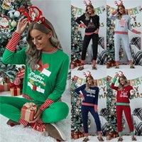 Плюс размер Рождество Семья Пижама Женщины Xmas Пижамы Лоскутная Полосатый двухкусочный Комплекты Свитеры футболка + брюки Legging костюм Новый E111104