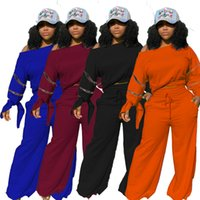 Frauen Solid Casual Trainingsanzüge Lange Ärmel Sexy Slash Neck Zipper Design Sweatshirt + Jogginghosen Zwei Stück Party Sets 2021