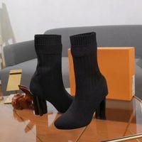 2020 ربيع الخريف محبوك مطاطا الأحذية إلكتروني الكعوب سميكة إمرأة مثير المصممين أحذية عالية الكعب متماسكة الأحذية الأزياء الجوارب الأحذية النساء سيدة