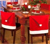 Рождественский стул Cover Santa Prose Red Hat Country Back Caparing Ужин стул Крышки наборы для рождественских рождественских рождественских украшения вечеринки YHM15-15