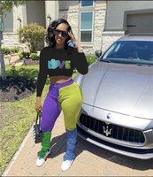 Контрастные цвета плиссированные брюки и Crop женщин пуловеры Hoodie Tops Две пьесы Наряды Sweatsuit костюмы Hip Hop CASUAL Спортивный костюм D102603