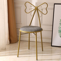 FCH Butterfly Backrest Wrought Iron Leather Makeup Stool Dre...