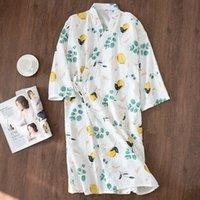 Yeni Tasarım Taze Kimono Cornes Kadın Yaz Bornozları 100% Gazlı Bez Pamuk Ince Rahat Çiçek Kadın Nightgowns Japon Banyo Cornes 210203