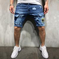 Mens Nova Chegada Rasgado Bordado Denim Shorts Verão Moda Jeans Juventude Calças Hip-Hop Tamanho S-3XL
