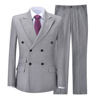 2021 Gray Classic Mens Suits Groom Tuxedos Groomsmen For Wed...