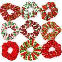Wool Knitted Scrunchies Women Girls Christmas Hair Band Xmas Red Green Striped Scrunchy Elastic Hair Rope Ponytail Hair Tie Holder FFA4478