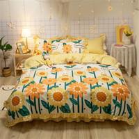 ホットセール4個の寝具セットプリントヒマワリベッドスーツの羽毛布団カバー暖かいベッドシートデザイナー寝具