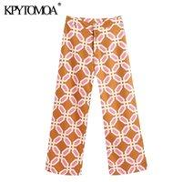 Kpytomoa Donna 2020 Chic Fashion Geometric Stampa Pantaloni vintage Zipper Pantaloni laterali da mosca Femminile Pantaloni per caviglia Pantaloni Mujer LJ201130